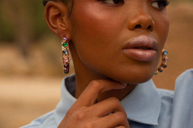 Adore Adorn Earrings Shari Hoop Earrings in Rose Gold