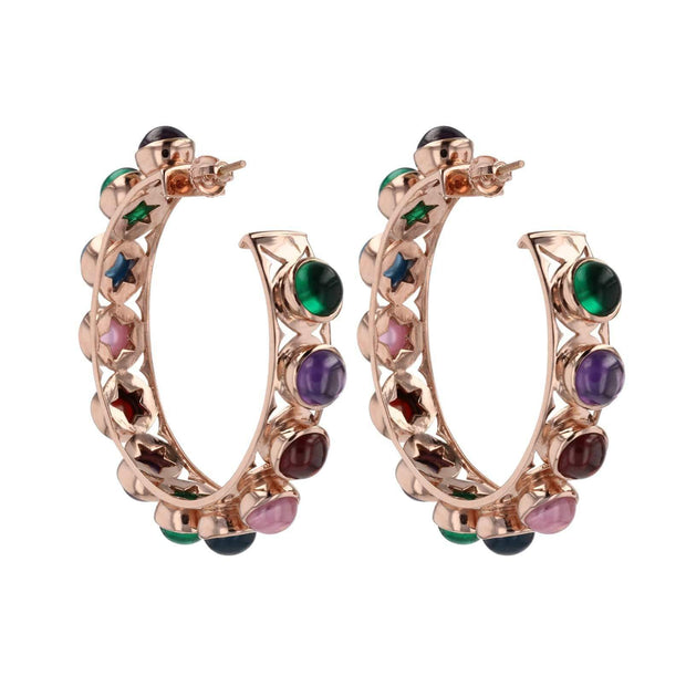 Adore Adorn Earrings Shari Hoop Earrings - Multi Color Cabochon + Rose Gold