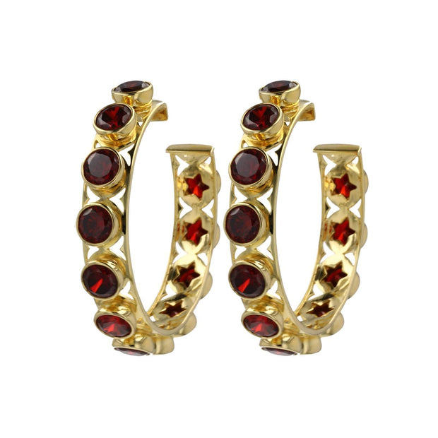 Adore Adorn Earrings Shari Hoop Earrings - Red Garnet + Gold Vermeil