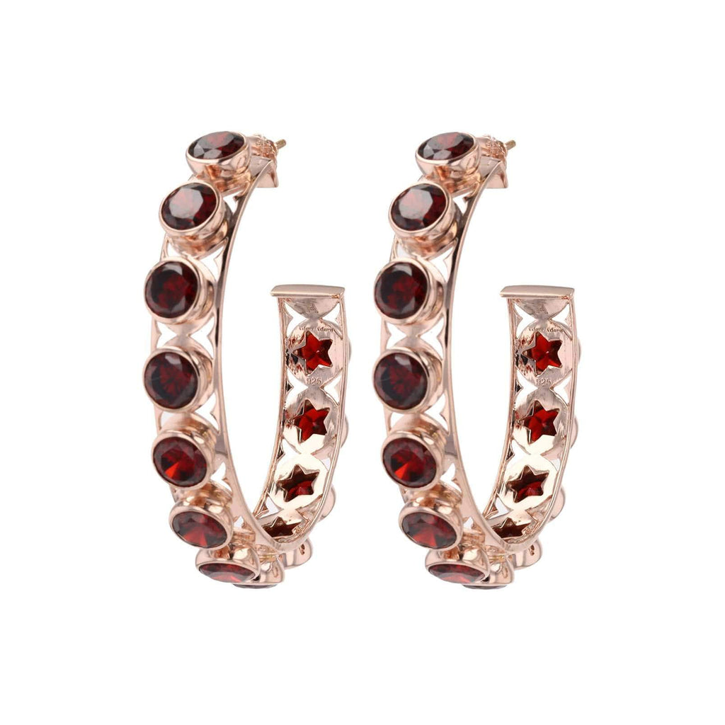 Adore Adorn Earrings Shari Hoop Earrings - Rose Gold Red Garnet
