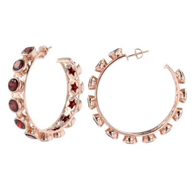 Adore Adorn Earrings Shari Hoop Earrings - Red Garnet + Rose Gold