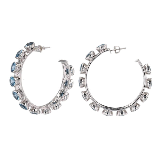 Adore Adorn Earrings Shari Hoop Earrings - Silver London Blue