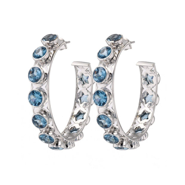 Adore Adorn Earrings Shari Hoop Earrings - Rhodium + London Blue
