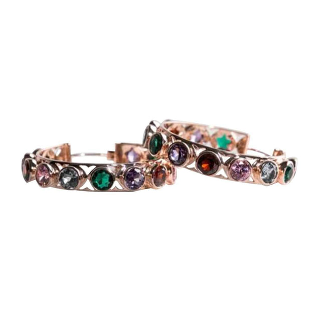 Adore Adorn Earrings Shari Hoop Earrings - Rose Gold Multi-Color