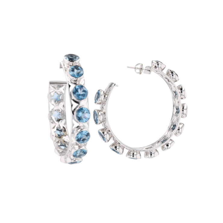 "Adore Adorn Earrings ""Shari"" Hoop Earrings Silver / London Blue + ""Missy"" Silver / Multi-colored Crystals"
