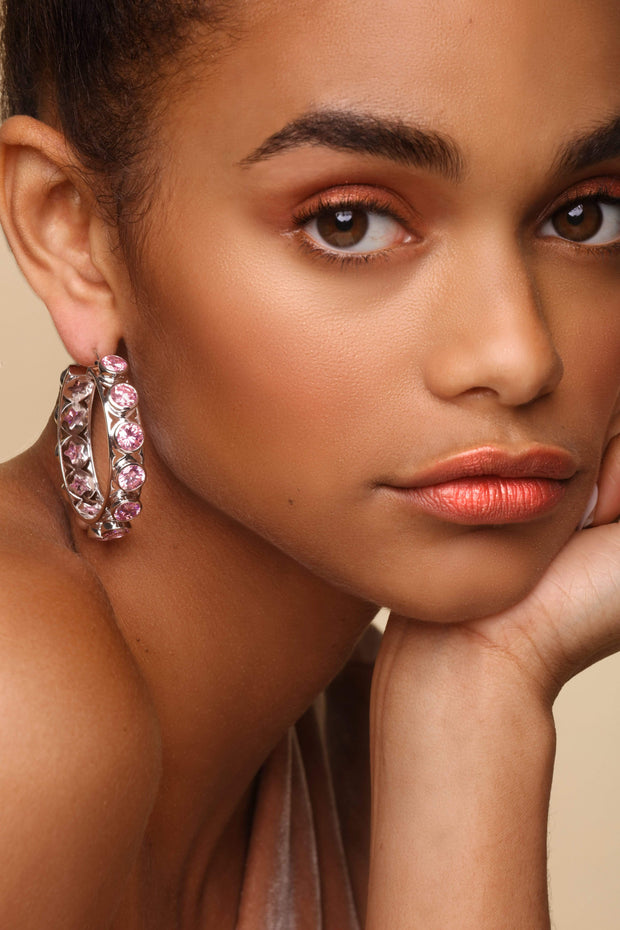 Adore Adorn Earrings Shari Hoop Earrings - Silver / Pink Sapphire