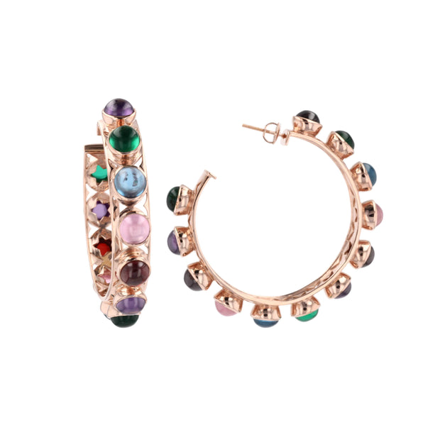 Adore Adorn Earrings Shari Rose Gold / Multi-color + Lilly Rose Gold / Clear Quartz
