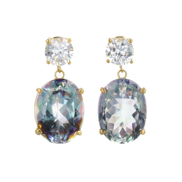 Adore Adorn Earrings White + Mystic Gemstone Earring