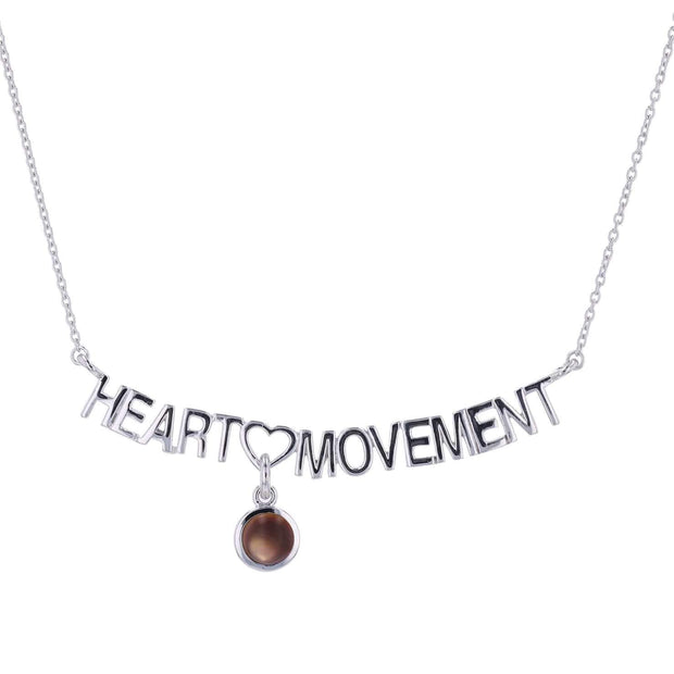 "Adore Adorn Necklace 16.5"" / Brown Mother of Pearl Heart Movement Necklace + Silver"