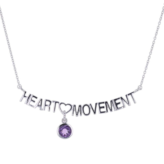 "Adore Adorn Necklace 16.5"" Heart Movement Necklace + Amethyst + Silver"