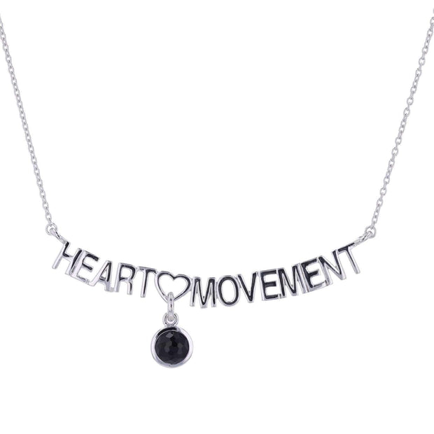 "Adore Adorn Necklace 16.5"" Heart Movement Necklace + Black Agate + Silver"