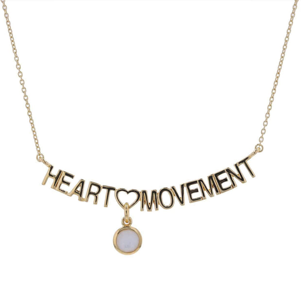 "Adore Adorn Necklace 16.5"" Heart Movement Necklace + Gold + Mother of Pearl"