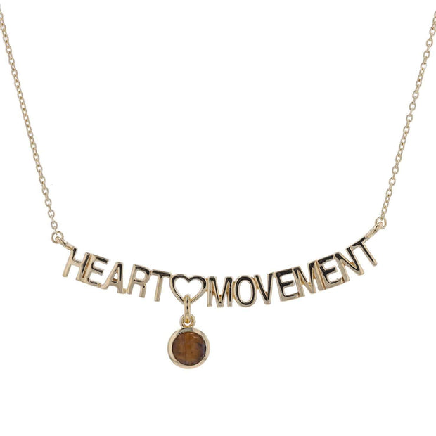 "Adore Adorn Necklace 16.5"" Heart Movement Necklace + Gold + Tiger Eye"