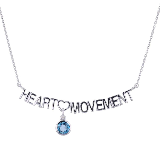 "Adore Adorn Necklace 16.5"" Heart Movement Necklace + London Blue + Silver"