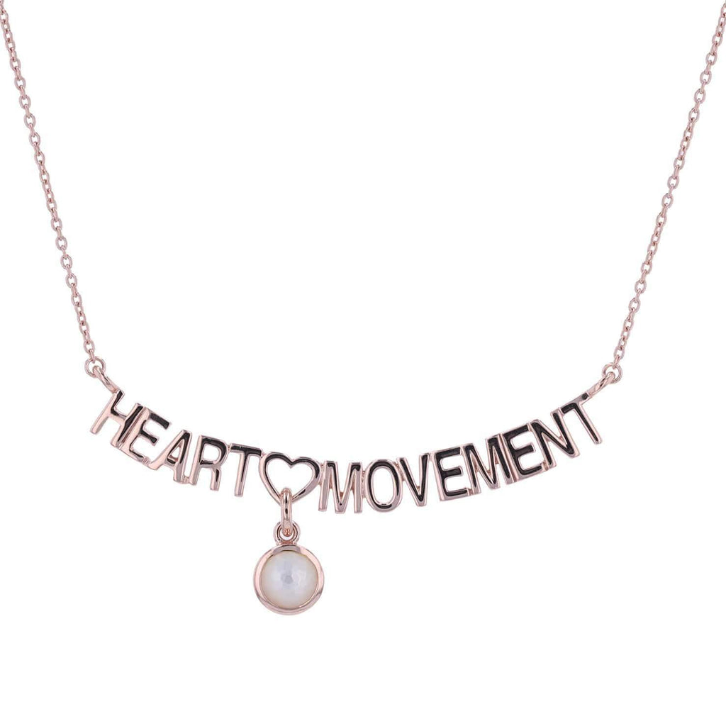 Adore Adorn Necklace 16.5 Heart Movement Necklace + Mother of Pearl + Rose Gold