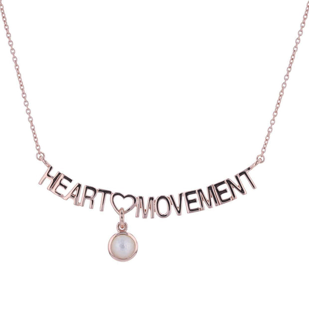 "Adore Adorn Necklace 16.5"" Heart Movement Necklace + Mother of Pearl + Rose Gold"