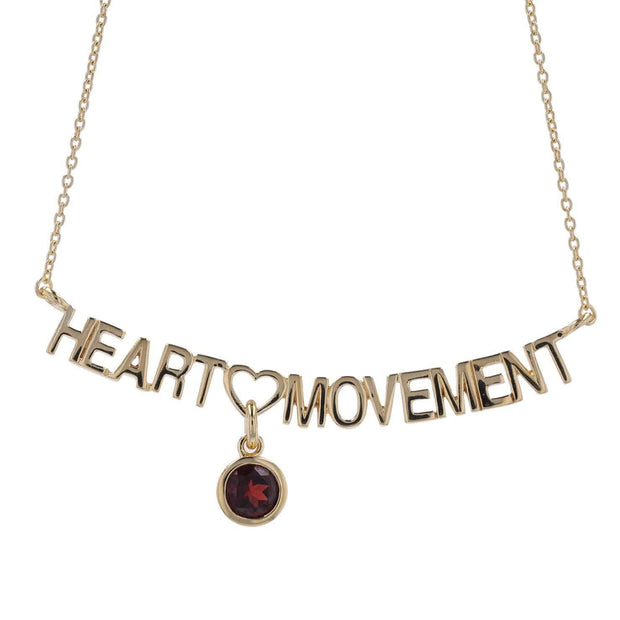 Adore Adorn Necklace 16.5 Heart Movement Necklace + Red Garnet + Gold