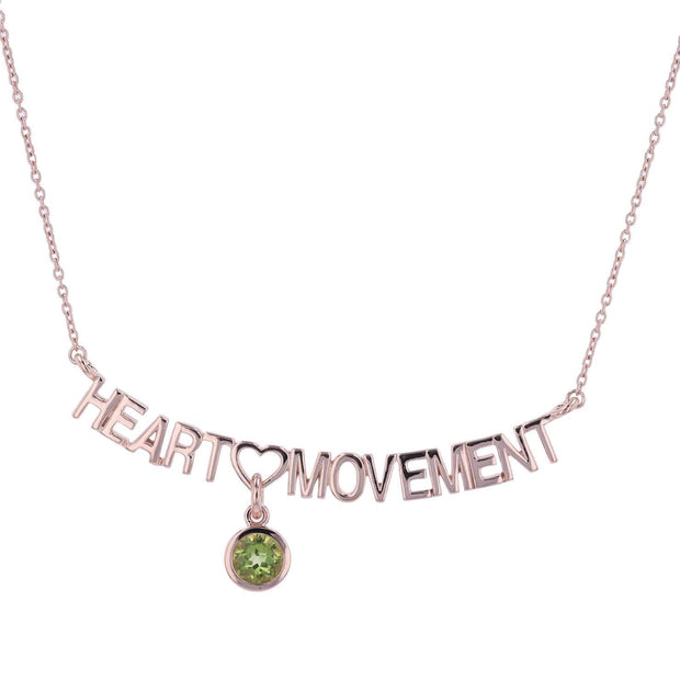 "Adore Adorn Necklace 16.5"" Heart Movement Necklace + RoseGold + Peridot"