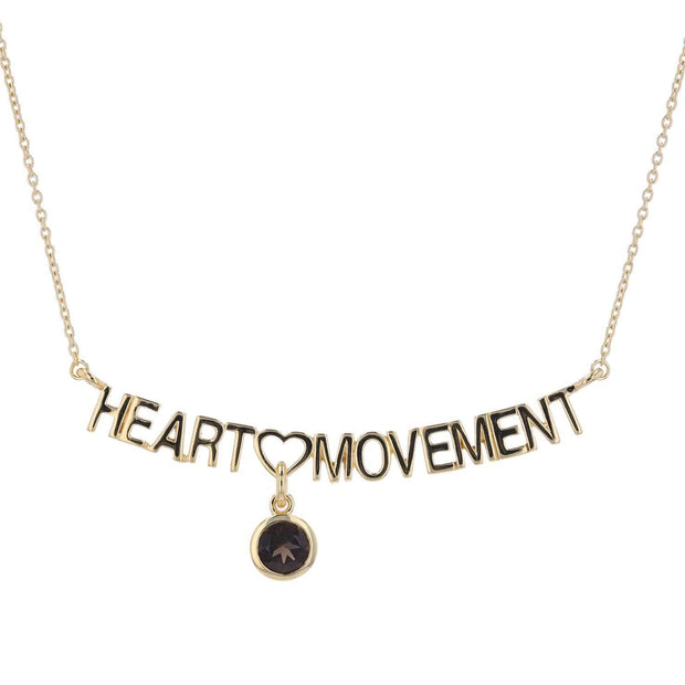 "Adore Adorn Necklace 16.5"" Heart Movement Necklace + Smokey Topaz + Matte Gold"
