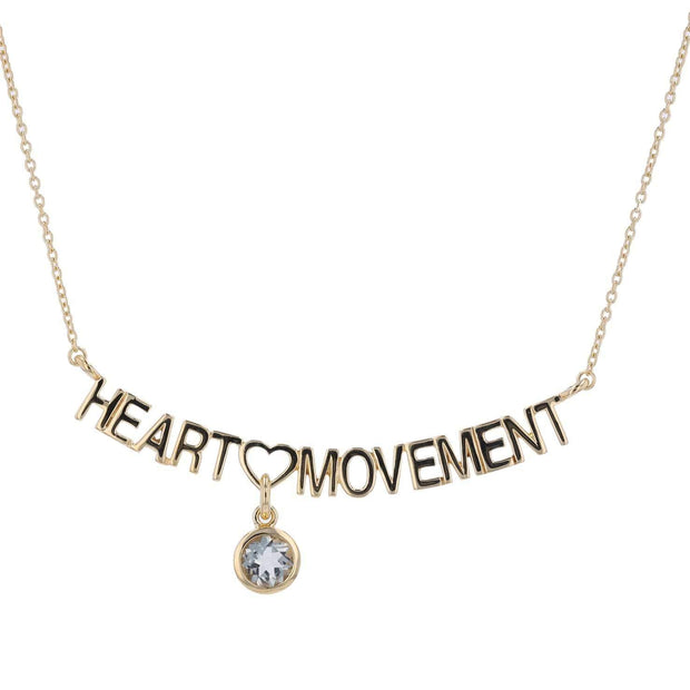 "Adore Adorn Necklace 16.5"" Heart Necklace + White Quartz + Gold"