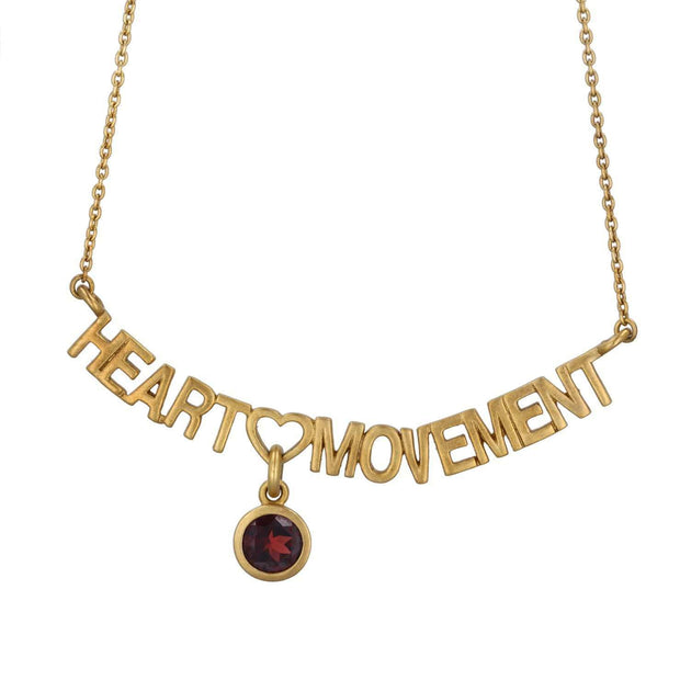 Adore Adorn Necklace 16.5 Heart Movement Necklace + Red Garnet + Matte Gold