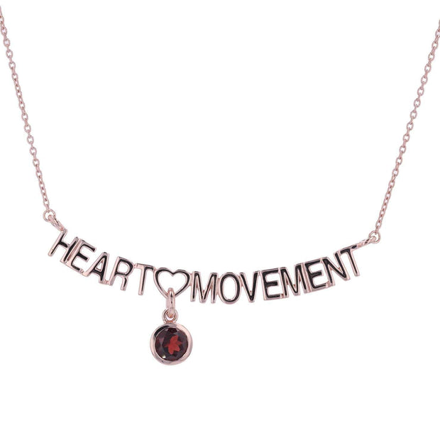 Adore Adorn Necklace 16.5 Heart Movement Necklace + Red Garnet + Rose Gold