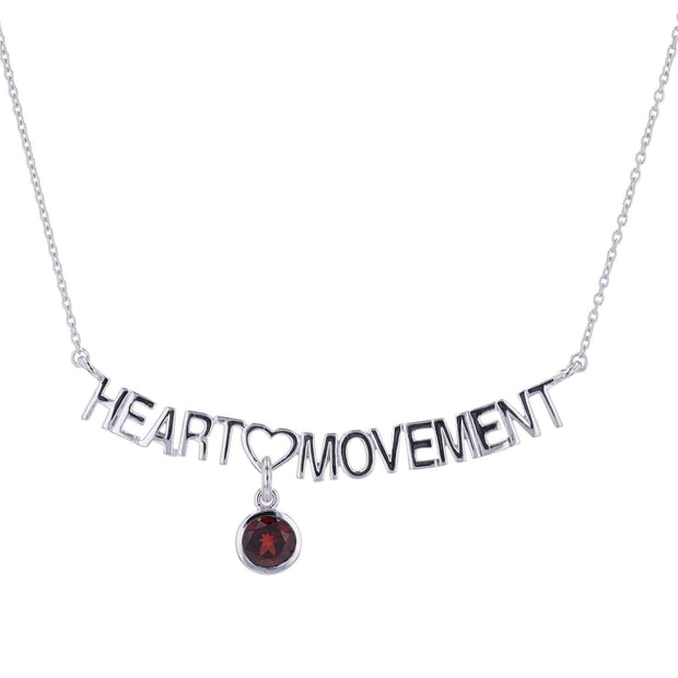 "Adore Adorn Necklace 16.5"" / Red Garnet Heart Movement Necklace + Silver"