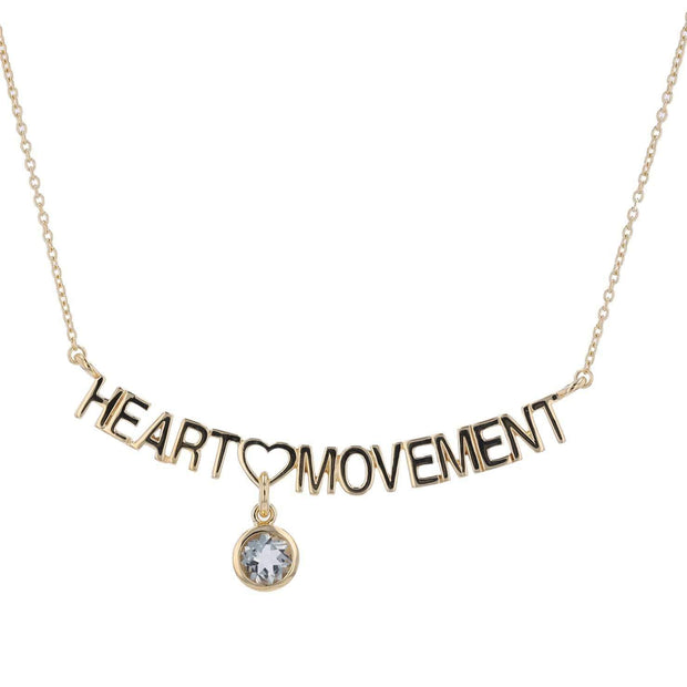 Adore Adorn Necklace 16.5 Heart Movement Necklace + White Quartz + Gold
