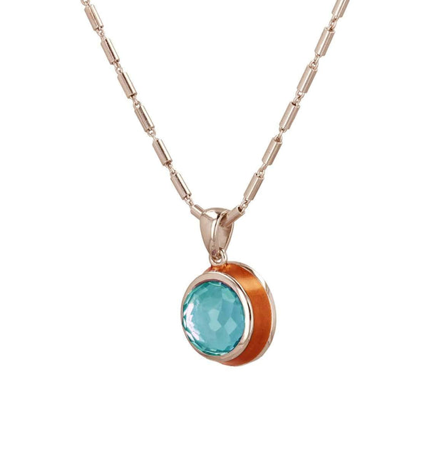 "Adore Adorn Necklace 18.5"" Fathom Sky Blue Topaz Enamel Necklace"