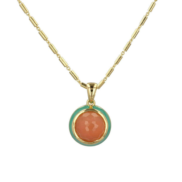 Peach Enamel Necklace with Moonstone Cabochon in Gold