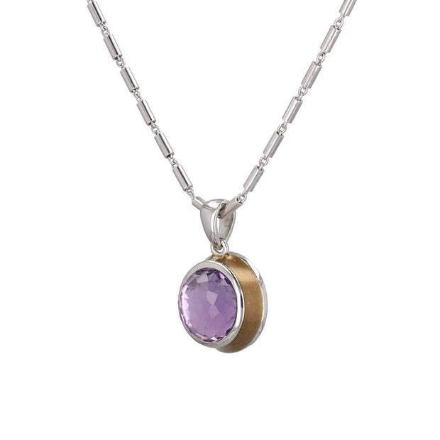 "Adore Adorn Necklace 18.5"" Thank You Amethyst Cabochon Enamel Necklace"