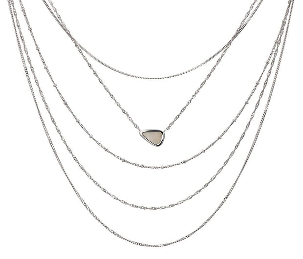 Adore Adorn Necklace Earth's Vision 5-Layer Opal Necklace - Silver