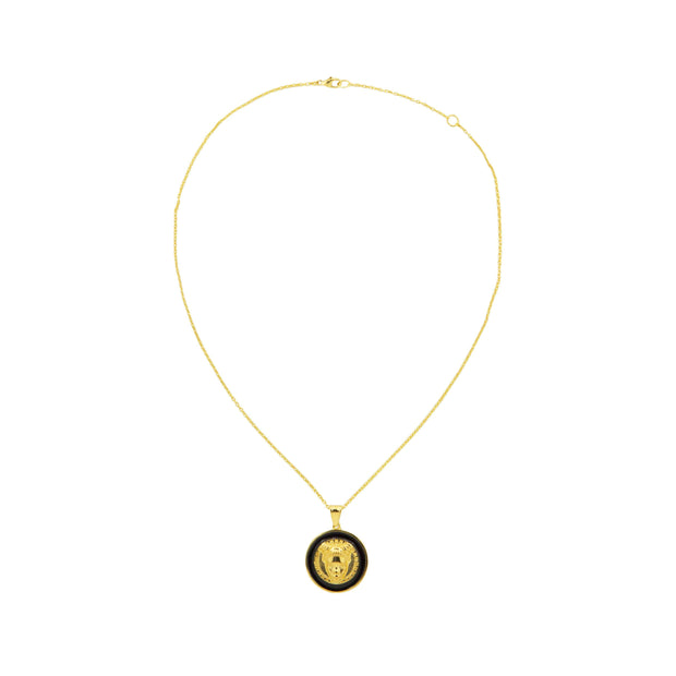 Adore Adorn Necklace Gold Reava Coin Necklace - Black Enamel