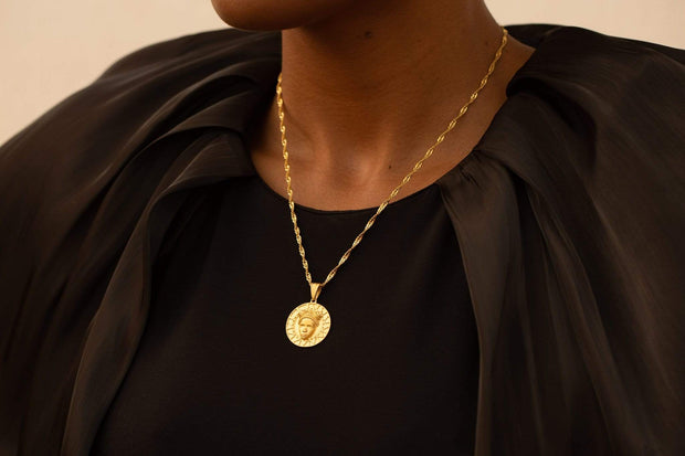 Adore Adorn Necklace Gold Reava Coin Necklace in 14K Gold