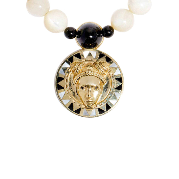 Adore Adorn Necklace Reava Pendant - 14K Gold, Mother of Pearl and Black Onyx