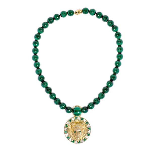 Adore Adorn Necklace Reava Pendant - 14K Gold, Mother of Pearl and Malachite