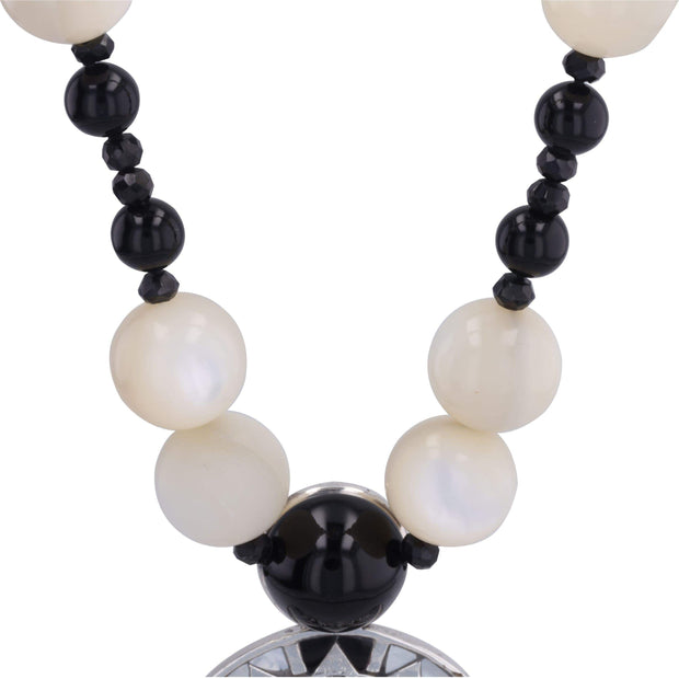 Adore Adorn Necklace Silver, Rhodium Plated Reava Pendant - Silver, Mother of Pearl and Black Onyx
