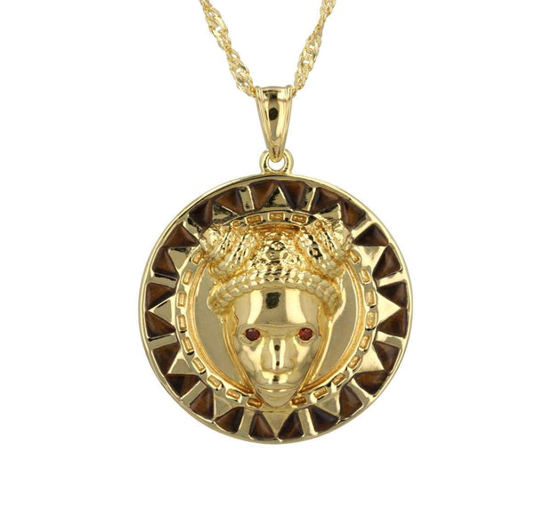 Reava Pendant with Tiger's Eye in 14K