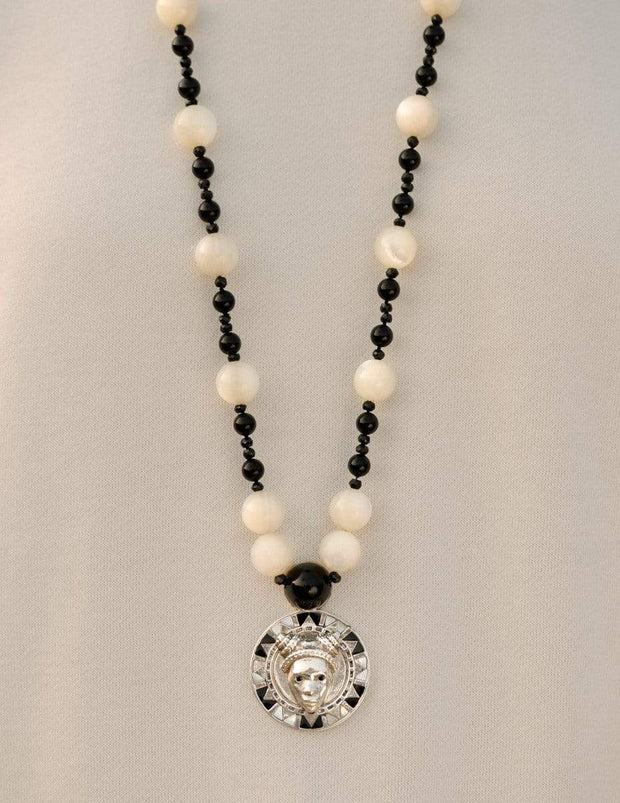 Adore Adorn Necklace White Rhodium Reava Pendant with Mother of Pearl + Black Onyx in White Rhodium
