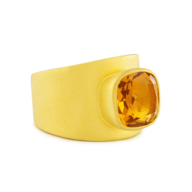 Adore Adorn Lilly Ring Matte Gold Citrine