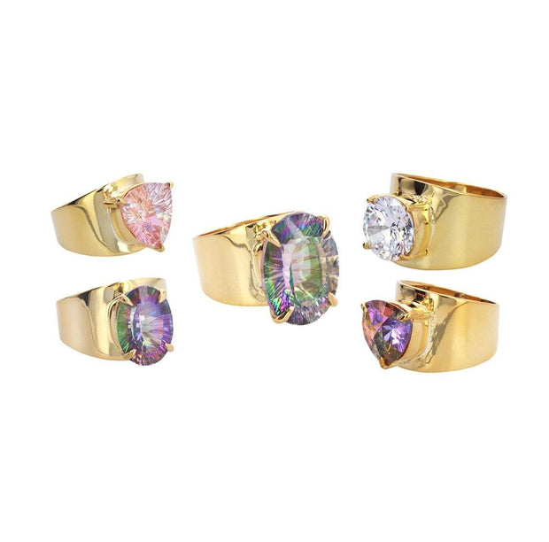 Adore Adorn Ring 6 Lilly Ring in 14k Gold Plated with Pink Mystic Topaz