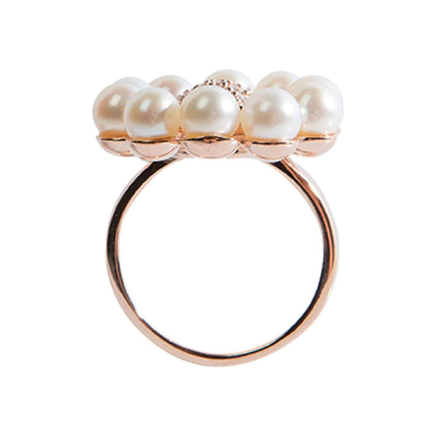 Adore Adorn Ring 7 Pearl Floral Ring - Rose Gold / Fresh Water Pearls