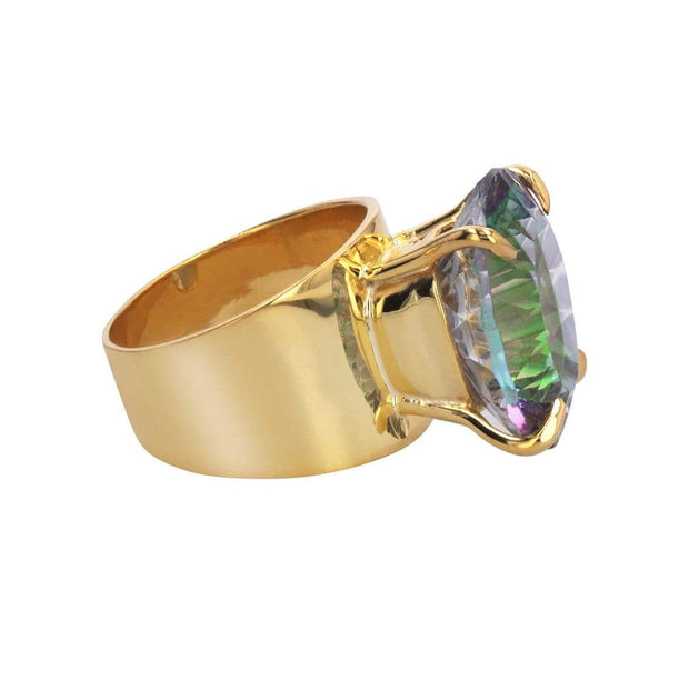 Adore Adorn Ring 9 Lilly Ring in 14K Gold Plated with Large Oval Mystic Topaz