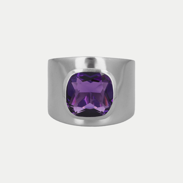 Adore Adorn Ring Amethyst / Brushed Silver / 925 Silver Lilly Ring (Personalized)