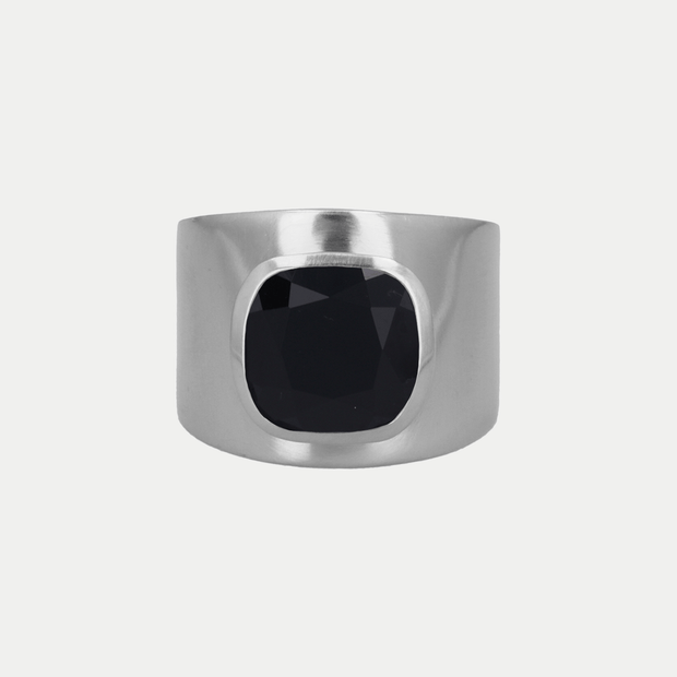 Adore Adorn Ring Black Onyx / Brushed Silver / 925 Silver Lilly Ring (Personalized)