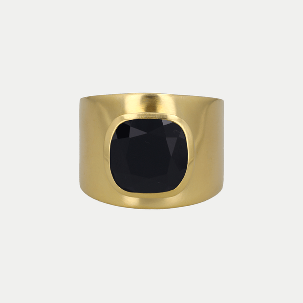 Adore Adorn Ring Black Onyx / Polished Gold / 925 Silver Lilly Ring (Personalized)