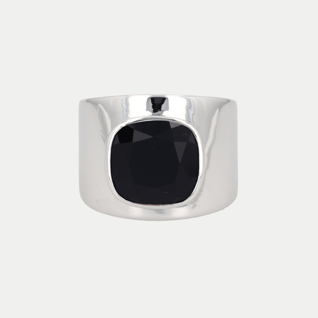 Adore Adorn Ring Black Onyx / White Rhodium / 925 Silver Lilly Ring (Personalized)