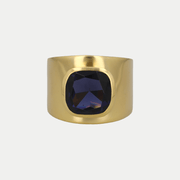 Adore Adorn Ring Blue Sapphire / Brushed Gold / 925 Silver Lilly Ring (Personalized)