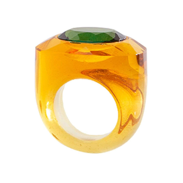 Adore Adorn Ring Crystal Cut Citrine Ring + Green Quartz