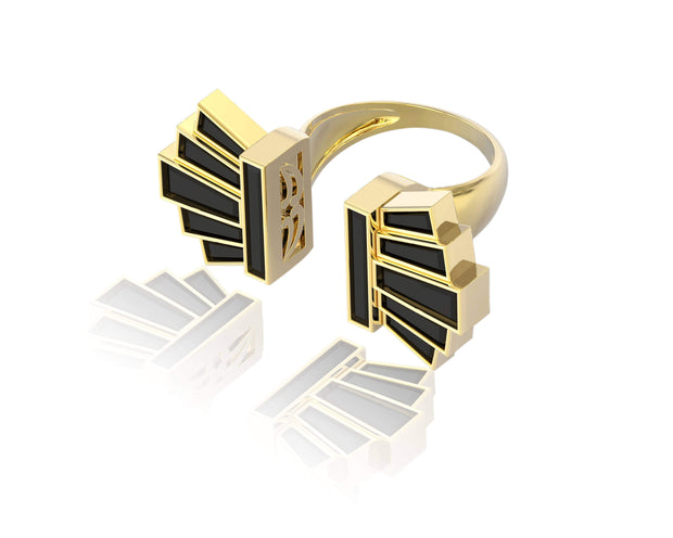 "Adore Adorn Ring Custom 18K Gold + Onyx ""Art Deco"" ring"